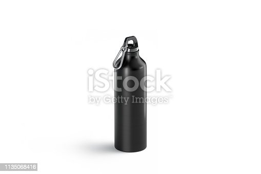1129148925istockphoto Blank black metal sport bottle mock up, isolated, side view 1135068416