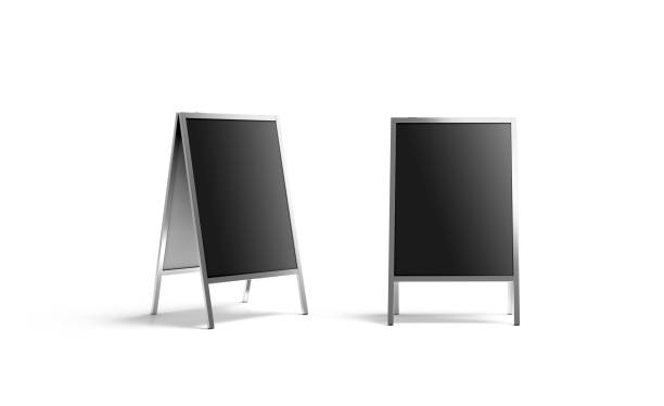 blank black metallic outdoor stand mockup set, isolated - vinyl banner mockup stock photos and pictures