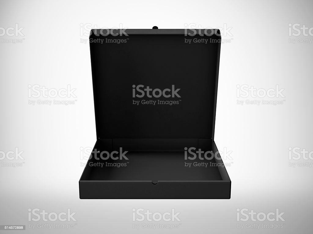 Blank black open pizza paper box isolated on white background stock photo