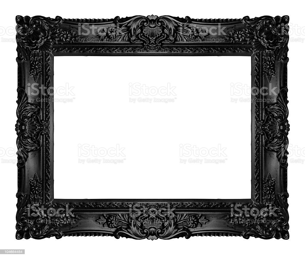 Blank black ornate picture frame royalty-free stock photo
