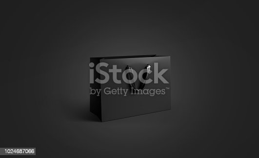 Blank black paper bag with silk handle mockup, isolated, pd rendering. Empty gift pack mock up. Carry shopping sack in darkness template