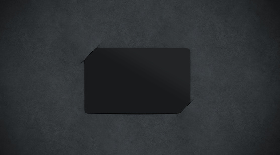 Blank black paper card holder mockup top view, 3d rendering. Empty dark plastic card inside paper sheet mock up. Customer loyal booklet template