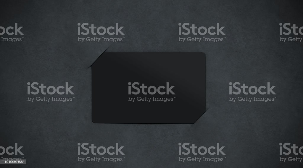 Blank black paper card holder mockup top view stock photo