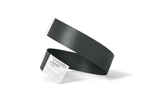 istock Blank black paper wirstband. 3d rendering 846978898