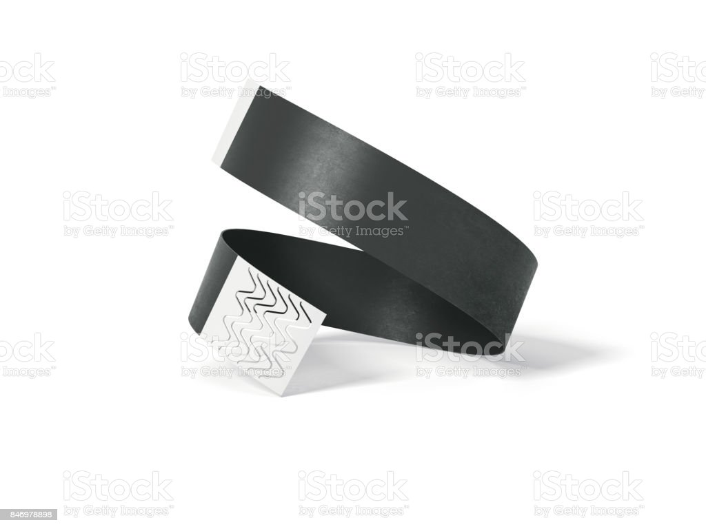 Blank black paper wirstband. 3d rendering stock photo