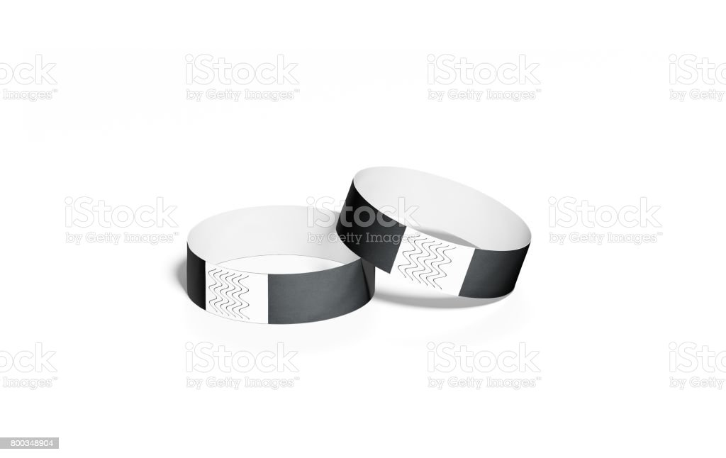 Blank black paper wristbands mock ups, 3d rendering stock photo