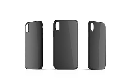 istock Blank black phone case mock up set, empty isolated 973347932