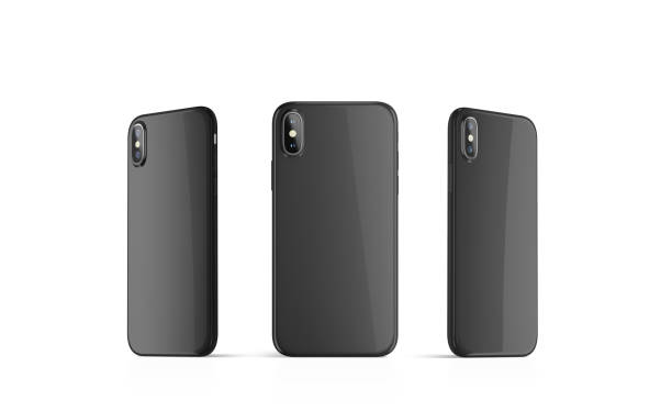 Blank black phone case mock up, stand isolated stock photo