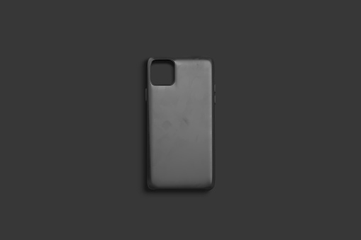 Blank black phone case mock up, top view, dark background, 3d rendering. Empty gray protected hood mockup. Clear smartphone matte jacket for logo mokcup template.