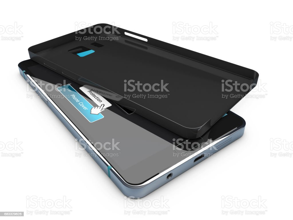 Blank black phone case on cell phone. 3d illustration royalty-free stock photo