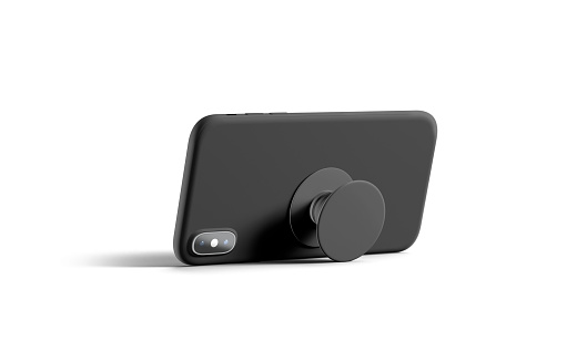 Blank black phone popsocket sticked on cellphone mockup, lying isolated