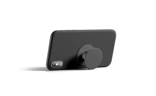 leere schwarze telefon-popsocket auf handy mockup geklebt, liegen isoliert - popmusiker stock-fotos und bilder