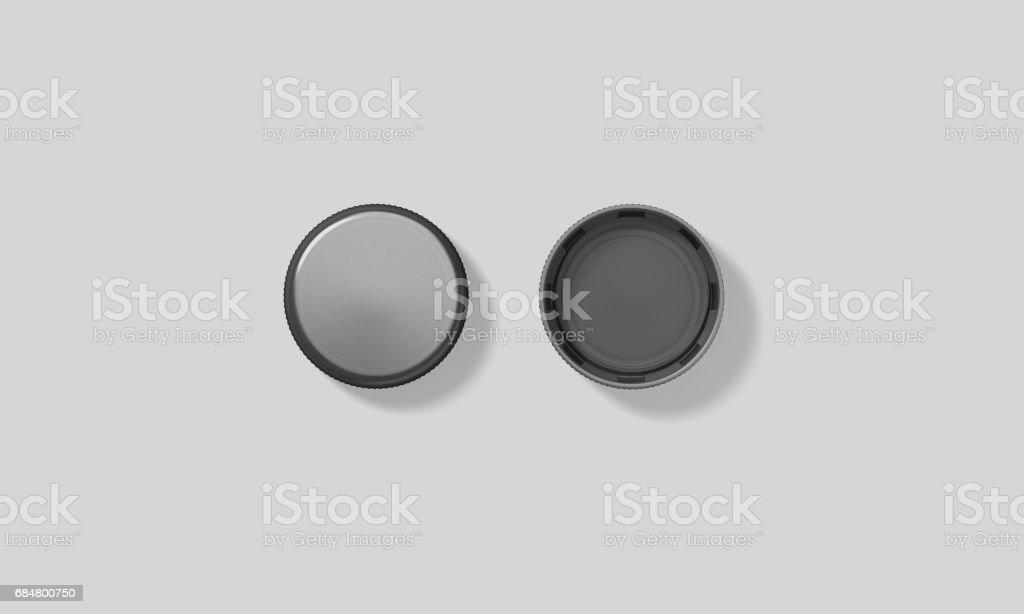 Blank black plastic bottle caps mockup set isolated stock photo