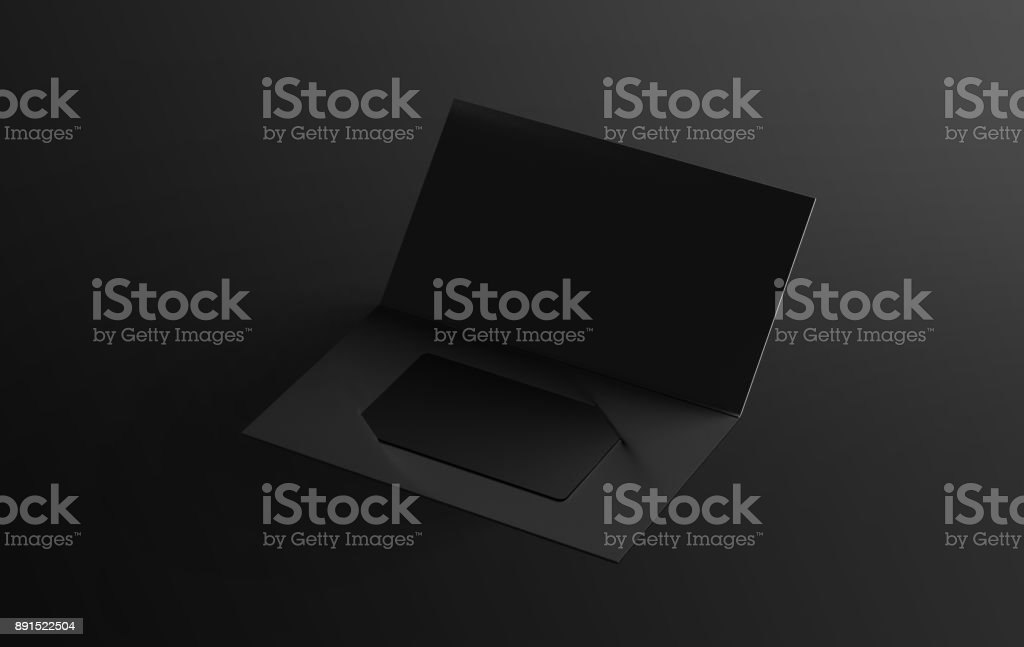 Blank black plastic card mockup inside paper booklet holder stock photo