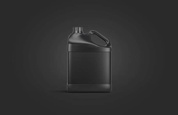 Blank black plastic jug mock up on darkness background stock photo