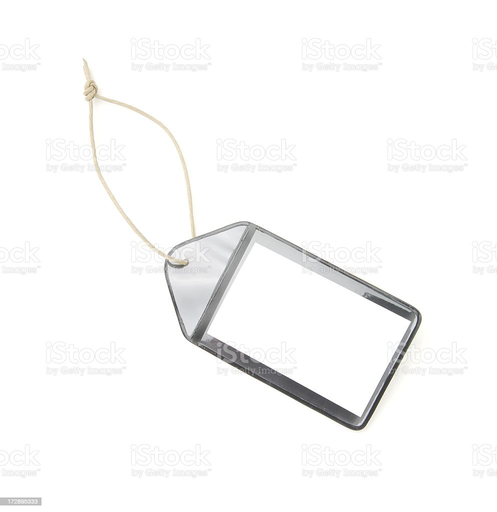 Blank black plastic luggage tag royalty-free stock photo