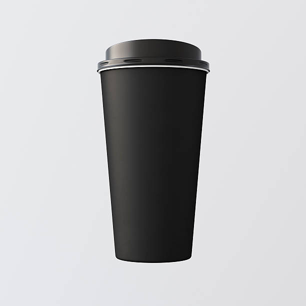 Blank Black Plastic Paper Coffee Cup Empty White Background.One Blank Black Plastic Paper Coffee Cup Empty White Background.One Take Away Cardboard Mug Closed Cap Isolated.Retail Mockup Presentation.Corporate Business Message. 3d rendering black coffee stock pictures, royalty-free photos & images