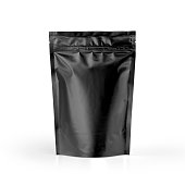 Blank Black plastic pouch coffee bag isolated on white background.