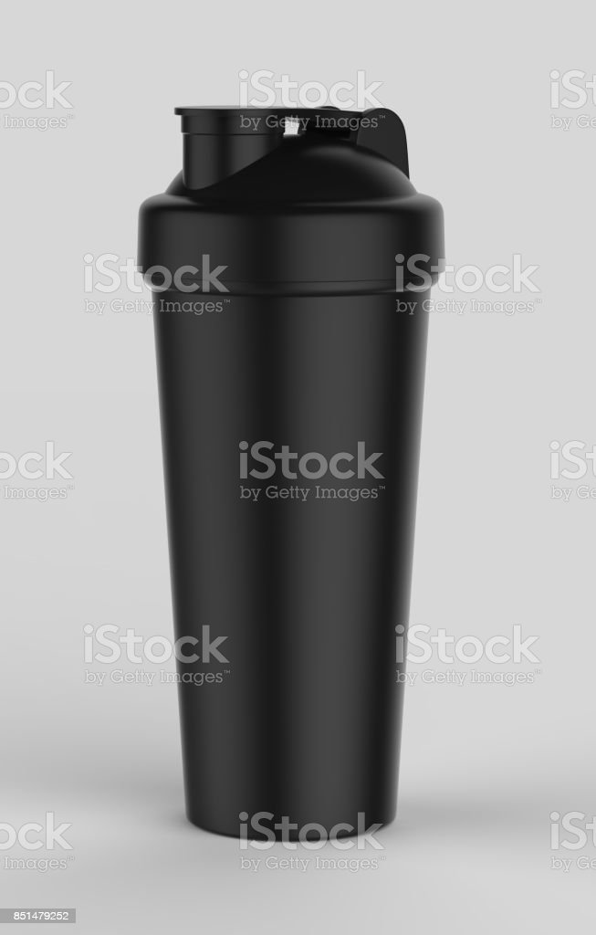 blank black plastic shaker bottle for mock up and template design 3d render illustration