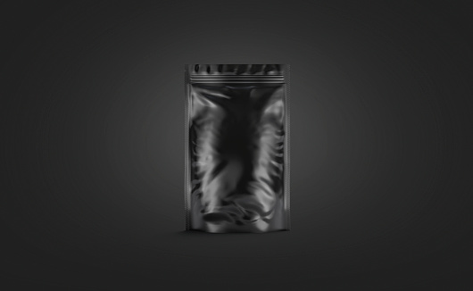 Blank black plastick pouch mockup stand isolated on darkness background, 3d rendering. Empty full pouch with product mock up, front view. Clear closed hardpack with zip mokcup template.