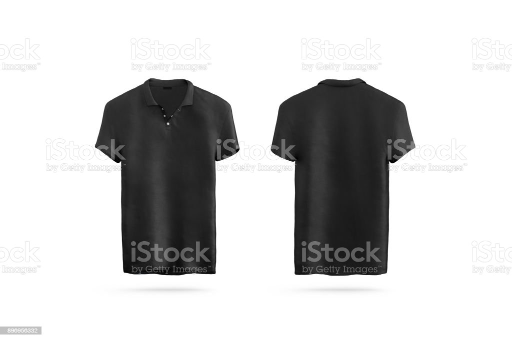 Blank black polo shirt mock up isolated, front and back stock photo