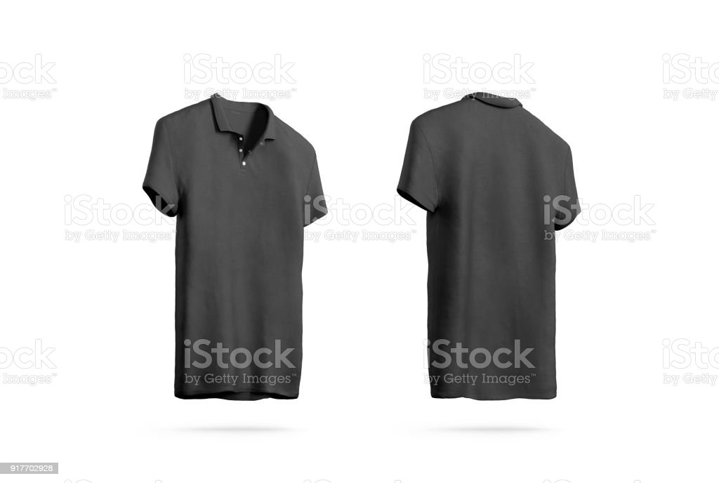 blank black polo shirt mockup isolated front back side view stock