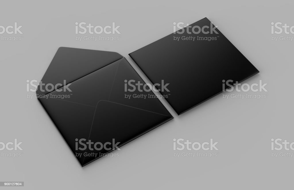 Blank black realistic baronial envelopes mock up. 3d rendering illustration. stock photo