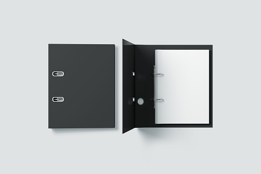 Blank black ring binder folder design mock up top view, 3d rendering. Self-binder mockup with stack of a4 paper. Office supply cardboard folder branding presentation. Desk lever arch file cover.