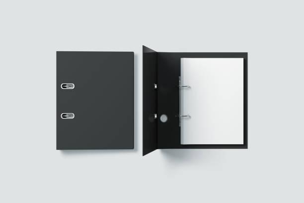 Blank black ring binder folder design mock up top view stock photo