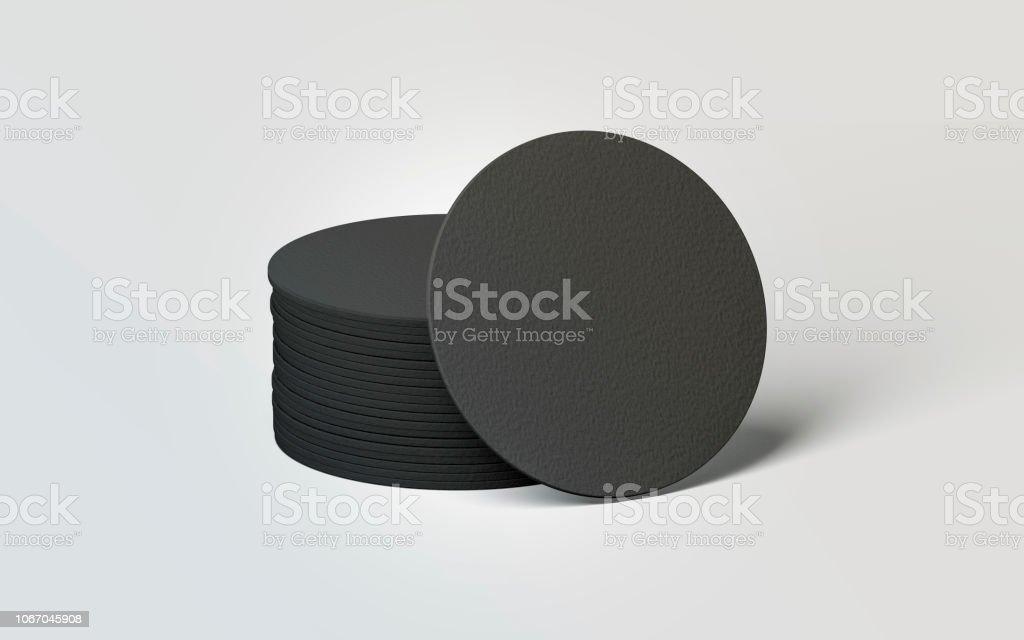Blank black round beer coasters stack mockup stock photo