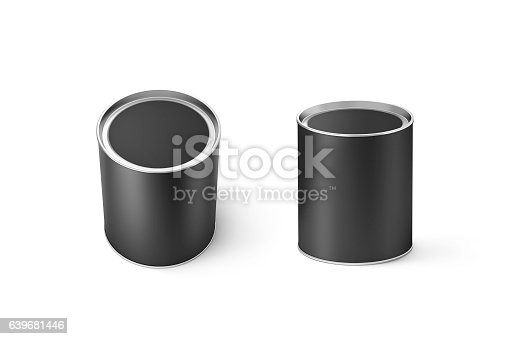 istock Blank black round can mockup set, isolated, 3d rendering. 639681446