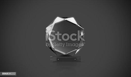 istock Blank black round glass trophy mockup in darkness 896805222