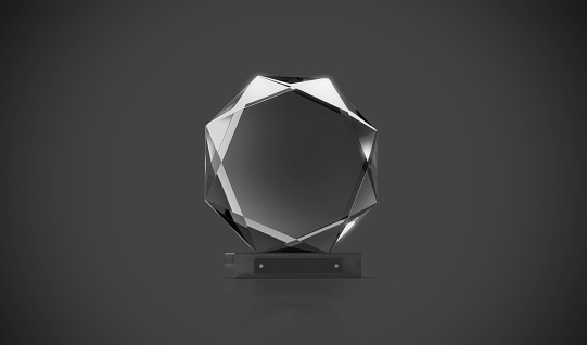 istock Blank black round glass trophy mockup in darkness 896805222