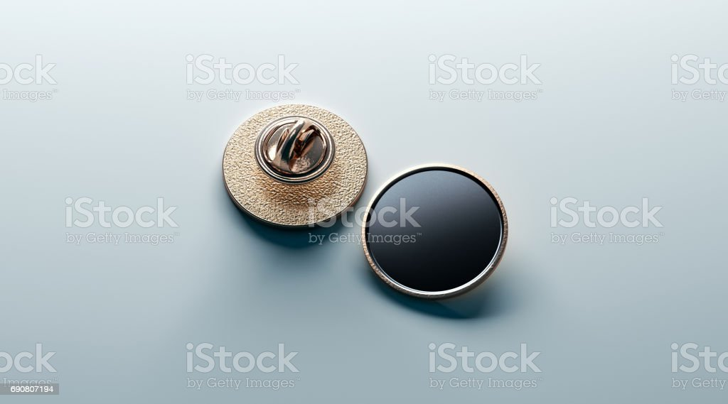 Blank black round gold lapel badge mock up, front and back stock photo
