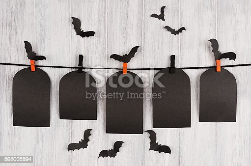 istock Blank black sale labels tomb hanging on clothespins with flock bats on white wooden plank background. 868005894