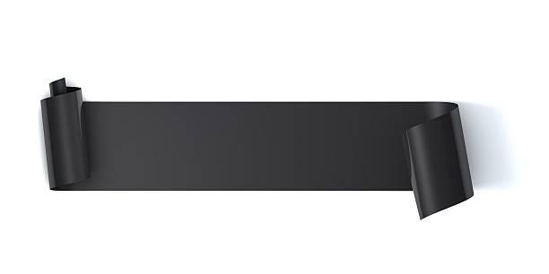 Blank black scroll label stock photo