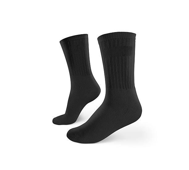 Blank black socks design mockup, isolated, clipping path. stock photo