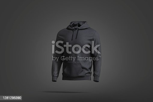 Blank black sport hoodie with hood mockup, dark background, 3d rendering. Empty casual loose overall clothing with hood mock up, side view. Clear men fabric sweat-shirt template.