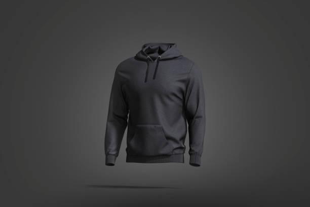 Blank black sport hoodie with hood mockup, dark background stock photo