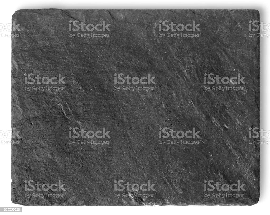 Blank black stone shale plate stock photo