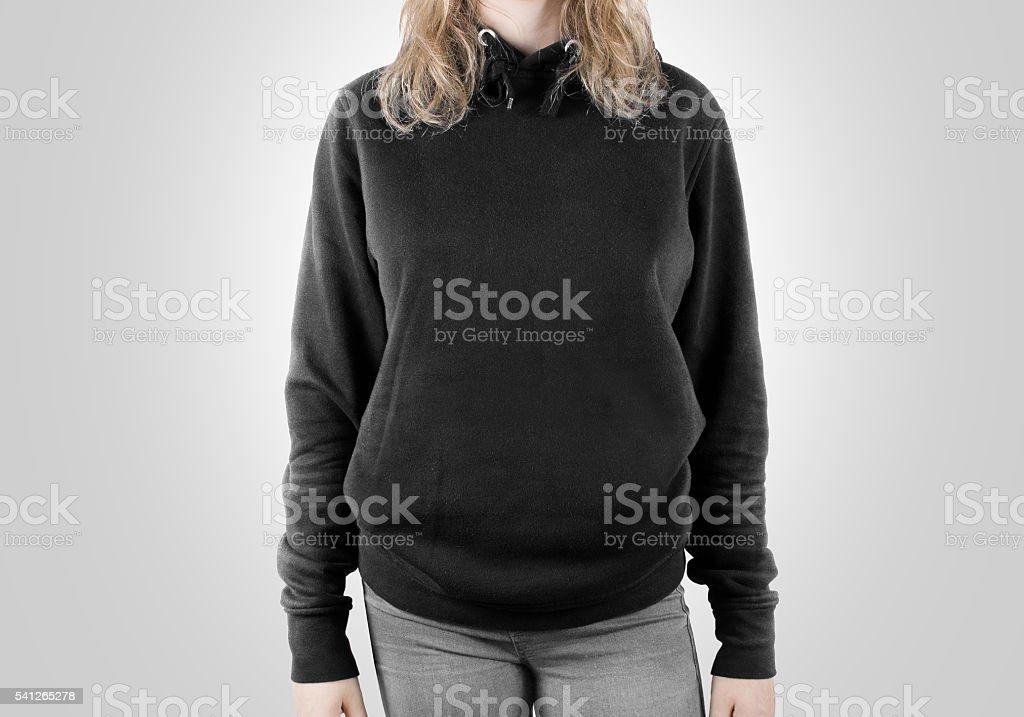 Blank black sweatshirt mock up isolated. Female wear dark hoodie stock photo
