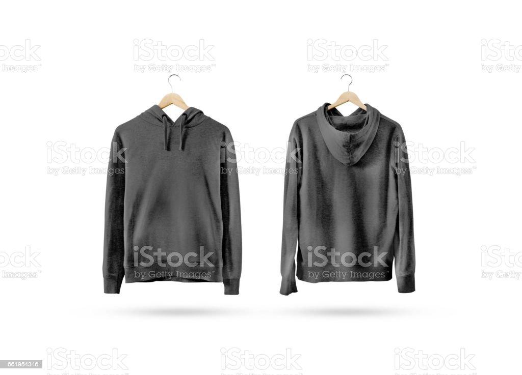 Blank black sweatshirt mockup set hanging on wooden hanger stock photo