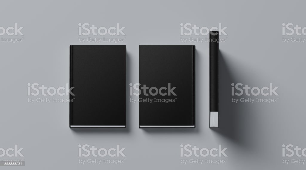 Blank black tissular hard cover book mock up, front, spine stock photo