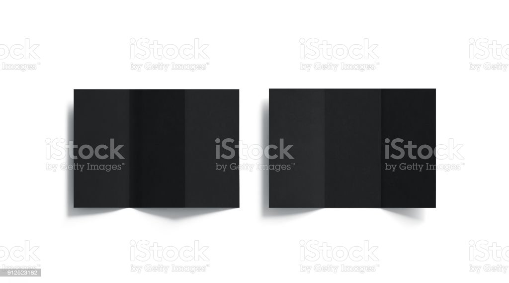 Blank black tri folded booklets mock ups set, opened top view stock photo
