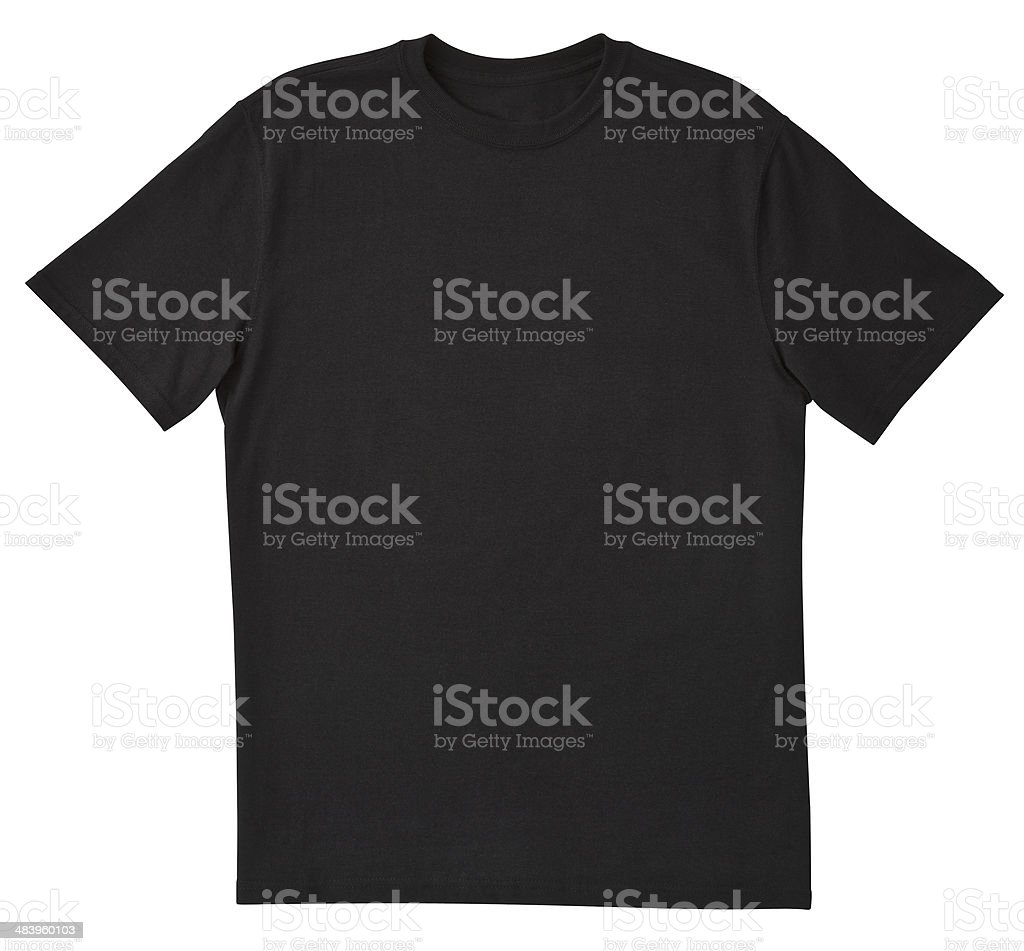 Blank Black T-Shirt Front with Clipping Path. bildbanksfoto