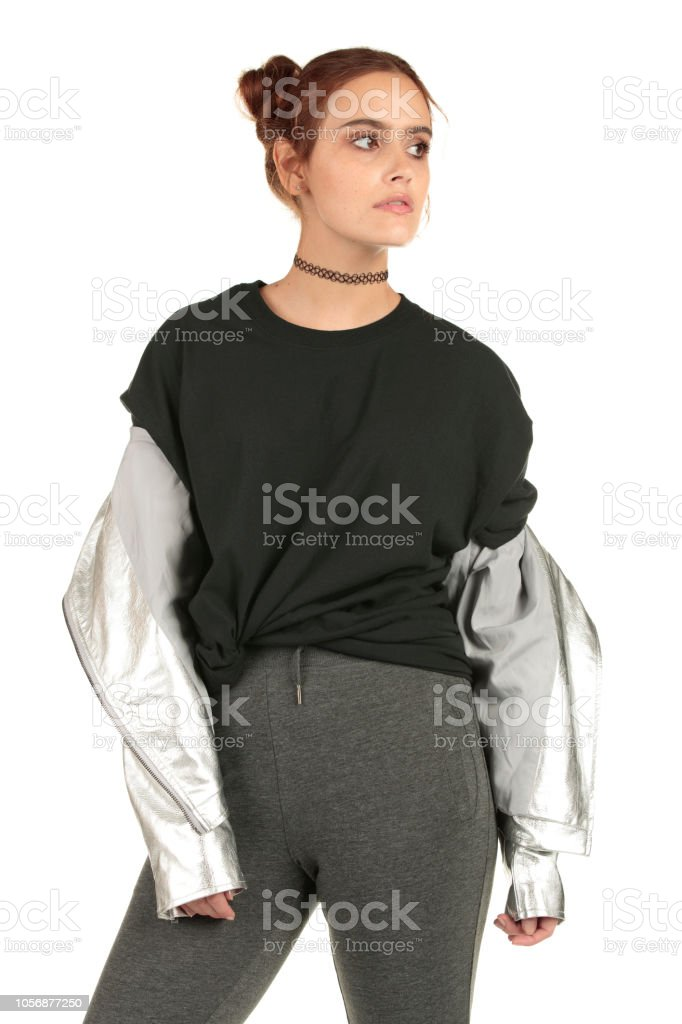 6126d45050e162 Blank black t-shirt perfect for your vintage band tees - Stock image .