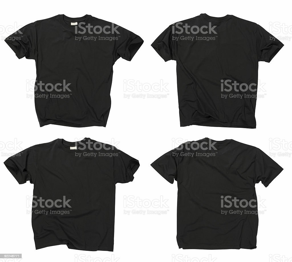 Blank black t-shirts front and back stock photo