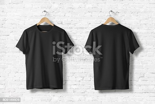 istock Blank Black T-Shirts Mock-up hanging on white wall, front and rear side view . Ready to replace your design 809189926