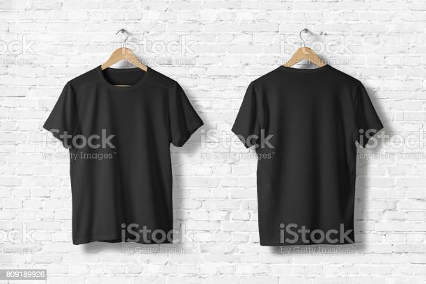 Blank black tshirts mockup hanging on white wall front and rear side picture id809189926?b=1&k=6&m=809189926&s=612x612&h=ihx0cbo lbkkqhnl6icn f0d2smkky7ux1injfq3nag=