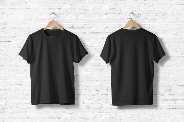 Blank Black T-Shirts Mock-up hanging on white wall, front and rear side view . Ready to replace your design - foto stock